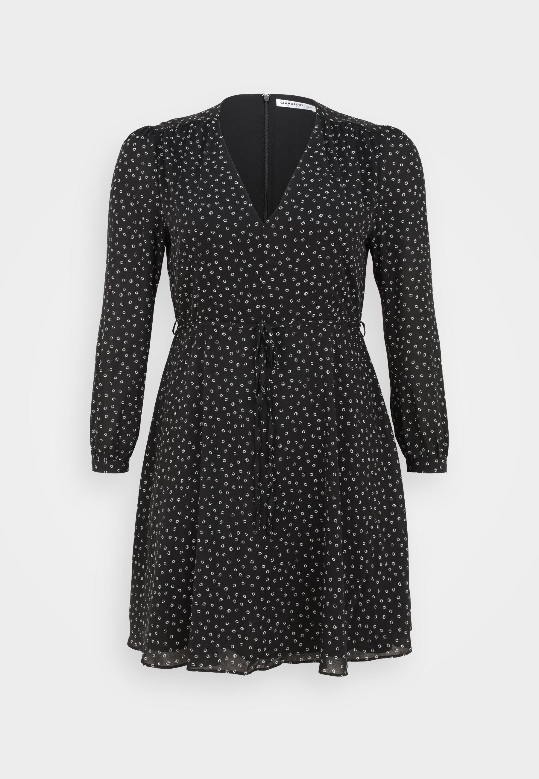 Women WRAP MINI DRESS - Day dress - black