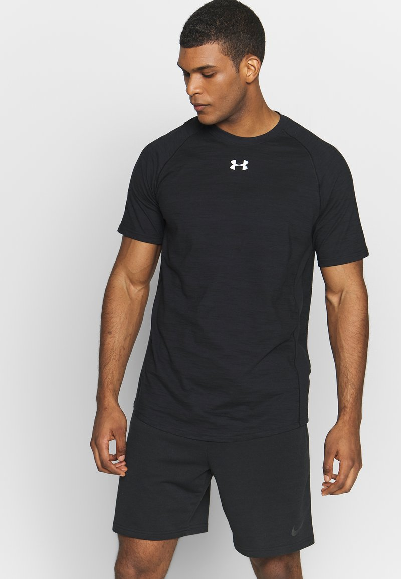 Under Armour - CHARGED COTTON SS - Basic T-shirt - black/white