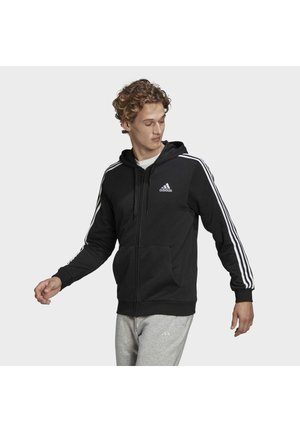 ESSENTIALS FRENCH TERRY 3-STRIPES FULL-ZIP HOODIE - Zip-up hoodie - black