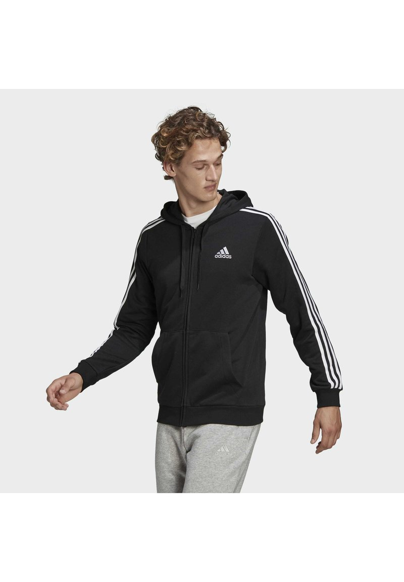 adidas Performance - ESSENTIALS FRENCH TERRY 3-STRIPES FULL-ZIP HOODIE - Zip-up hoodie - black