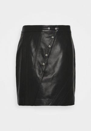 UNGA - Kožená sukně - black