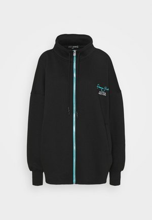 OVERSIZED ZIP FRONT - Mikina na zip - black