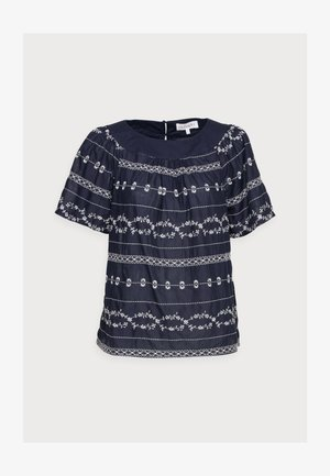 VALENTINA EMBROIDERED TOP - Blouse - navy
