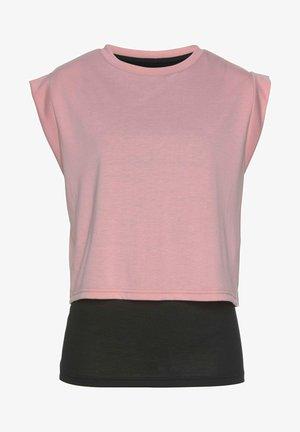Print T-shirt - rosa schwarz
