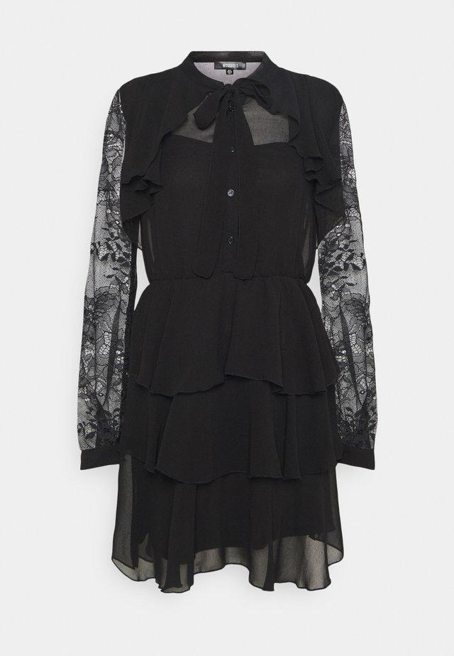 SLEEVE FRILL DETAIL DRESS - Blusenkleid - black