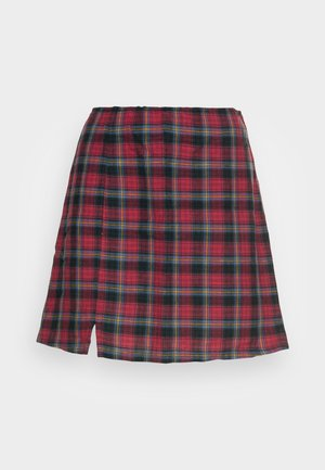 SLIM SLIT SKIRT - Mini skirt - red