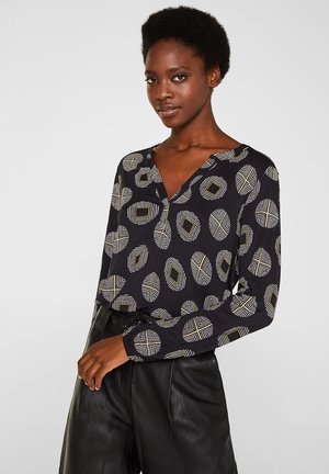MIT GUMMIZÜGEN - Long sleeved top - black