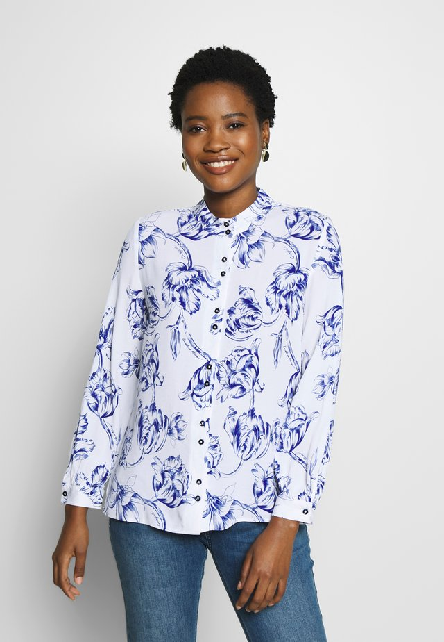 MAO COLLAR PRINTED BLOUSE - Button-down blouse - blue