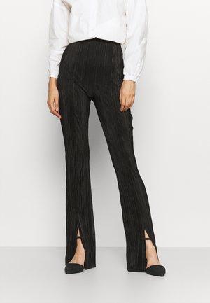 SPLIT FRONT FLARE - Trousers - black