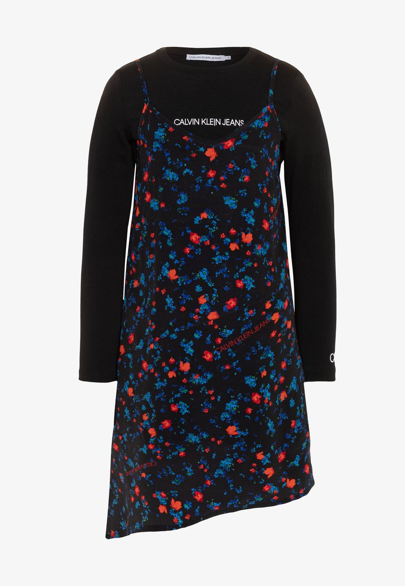 Calvin Klein Jeans - ASYMETRIC FLOWER DRESS SET - Denní šaty - black