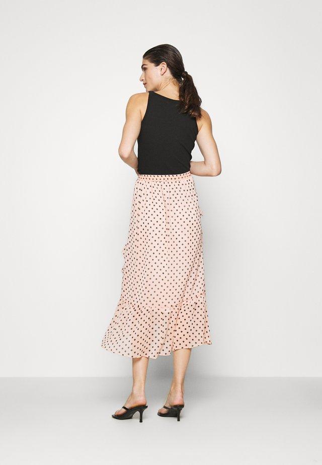 BLUSH SPOT RUFFLE MIDI SKIRT - A-line skirt - pink