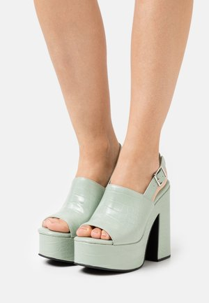 Sandalen met plateauzool - mint green