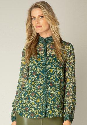 Button-down blouse - deep teal/multi-colo