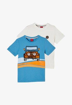 2 PACK - Print T-shirt - blue placed print/cream