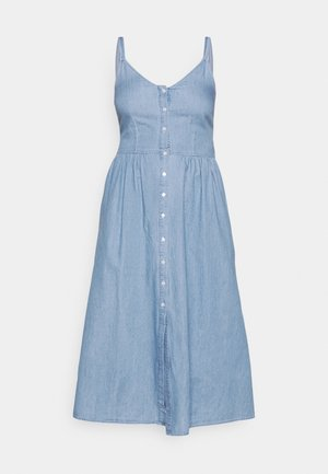 VIFANZI MIDI STRAP DENIM DRESS - Spijkerjurk - light blue