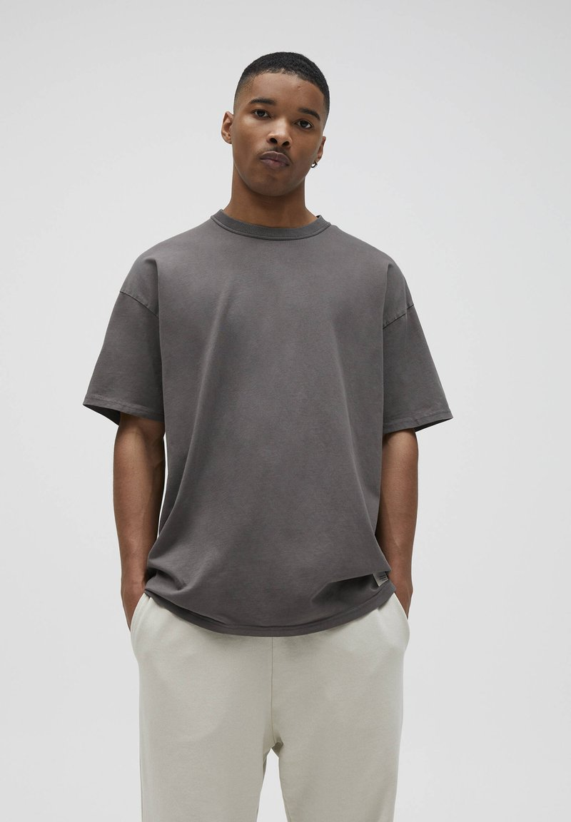 PULL&BEAR - LOOSE-FIT - Basic T-shirt - mottled dark grey