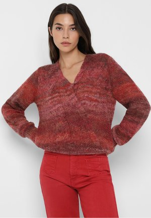 STRIPED DOUBLE BREASTED  - Trui - red