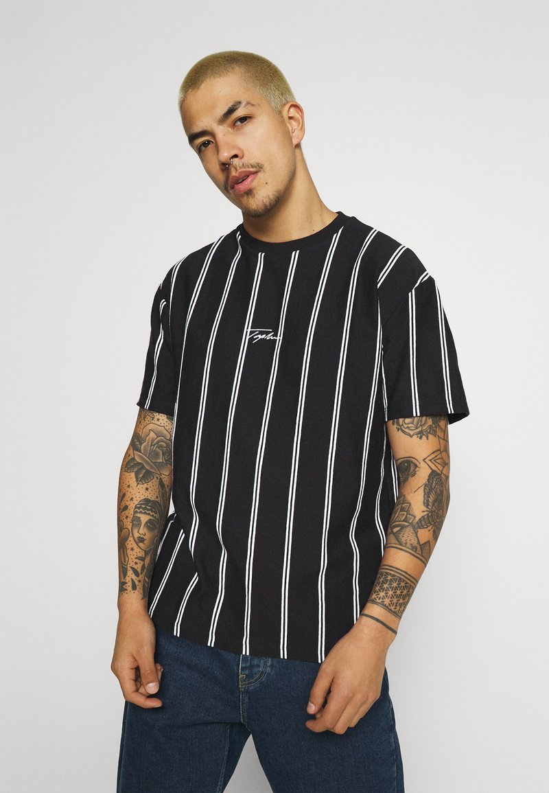 Topman - STRIPE SIGNATURE TEE - Print T-shirt - black
