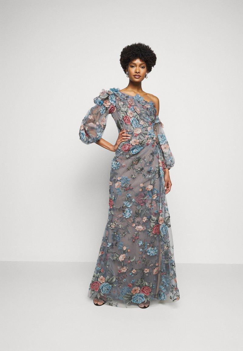 Marchesa - OFF THE SHOULDER GOWN - Společenské šaty - smokey blue