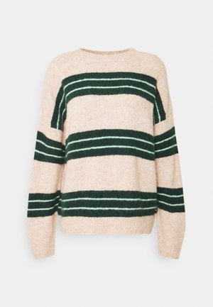 COZY STRIPE - Jumper - beige/green