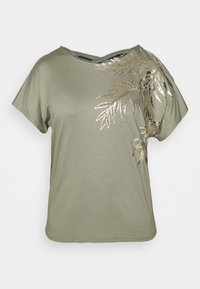 PLACEMENT PALM PRINT CROSS BACK - Print T-shirt - khaki