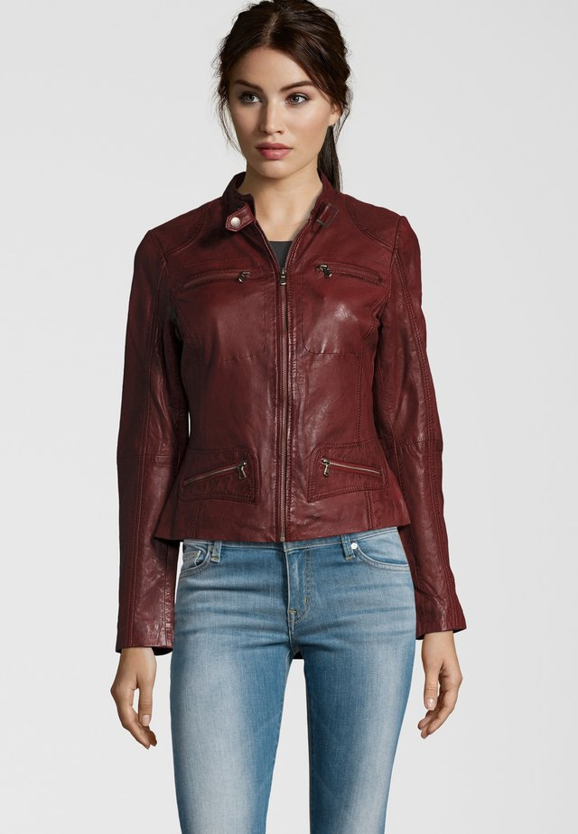 KATERINA - Leather jacket - bordeaux