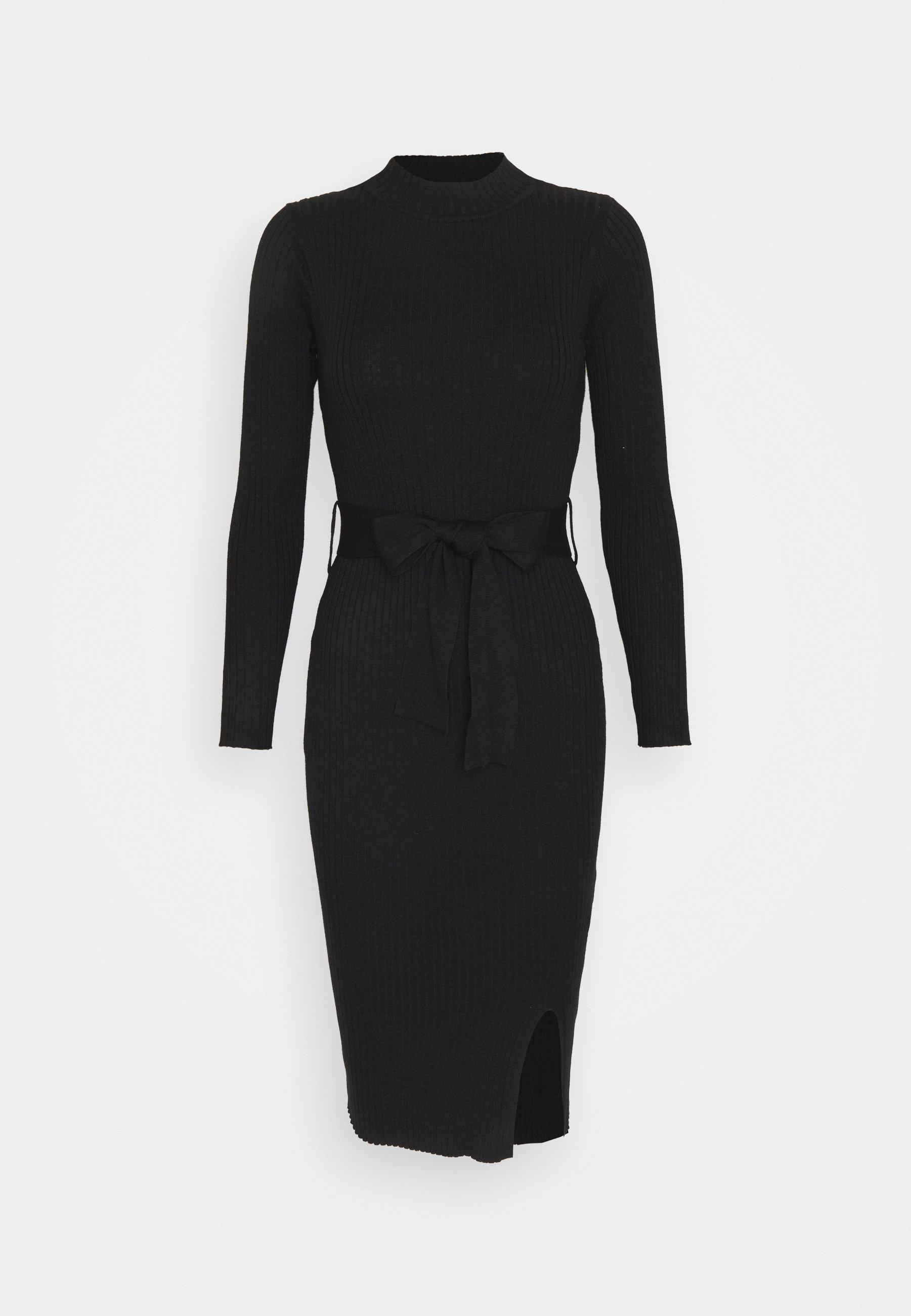 New Look Petite Tie Waist Midi Dress Robe Fourreau Black Noir Zalando Fr