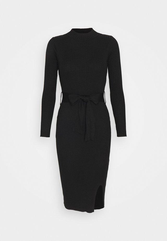TIE WAIST MIDI DRESS - Shift dress - black