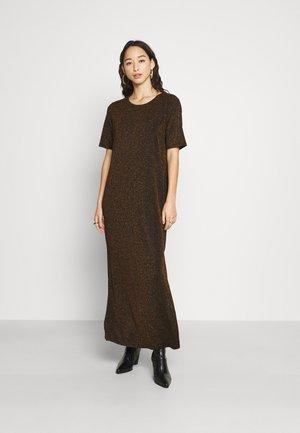 MAXI DRESS WITH FRONT SIDE SPLIT HIGH ROUND NECKLINE - Maxi dress - black/bronze
