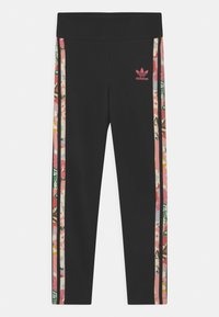 adidas Originals - FLORAL STRIPE - Leggings - Trousers - black/pink - 0