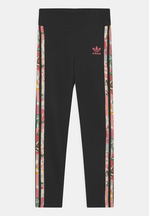 FLORAL STRIPE - Legginsy - black/pink