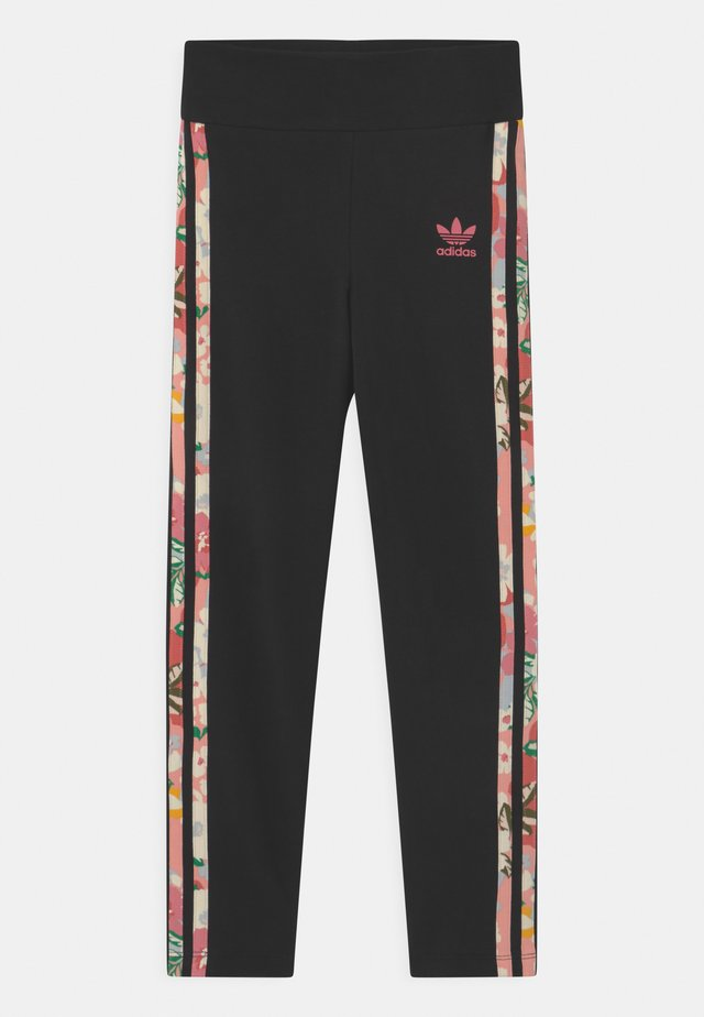 FLORAL STRIPE - Leggingsit - black/pink