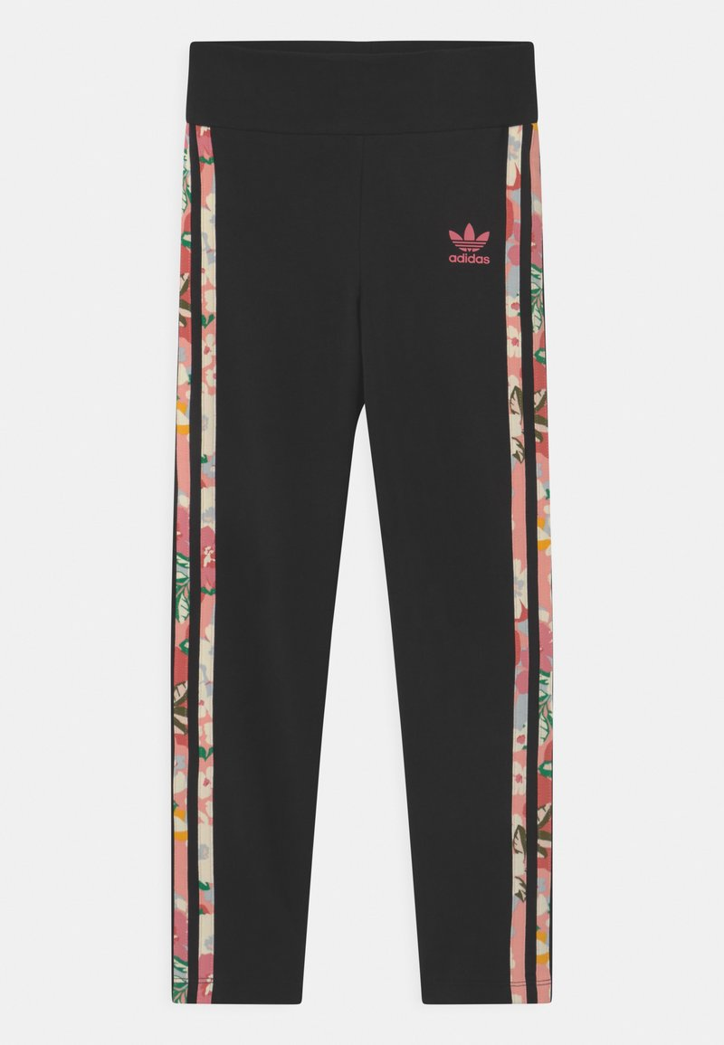 adidas Originals - FLORAL STRIPE - Leggings - Trousers - black/pink