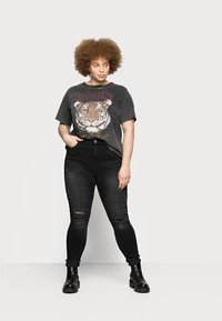 River Island Plus - AMELIE ZORRO RIPS - Jeans Skinny Fit - washed black - 1