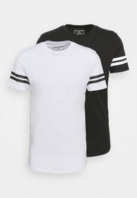 JCOZDOUBLE STRIPE TEE 2 PACK - T-shirt med print - black/white