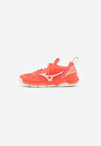 WAVE LUMINOUS - Volleyball shoes - livingcoral/snowwhite