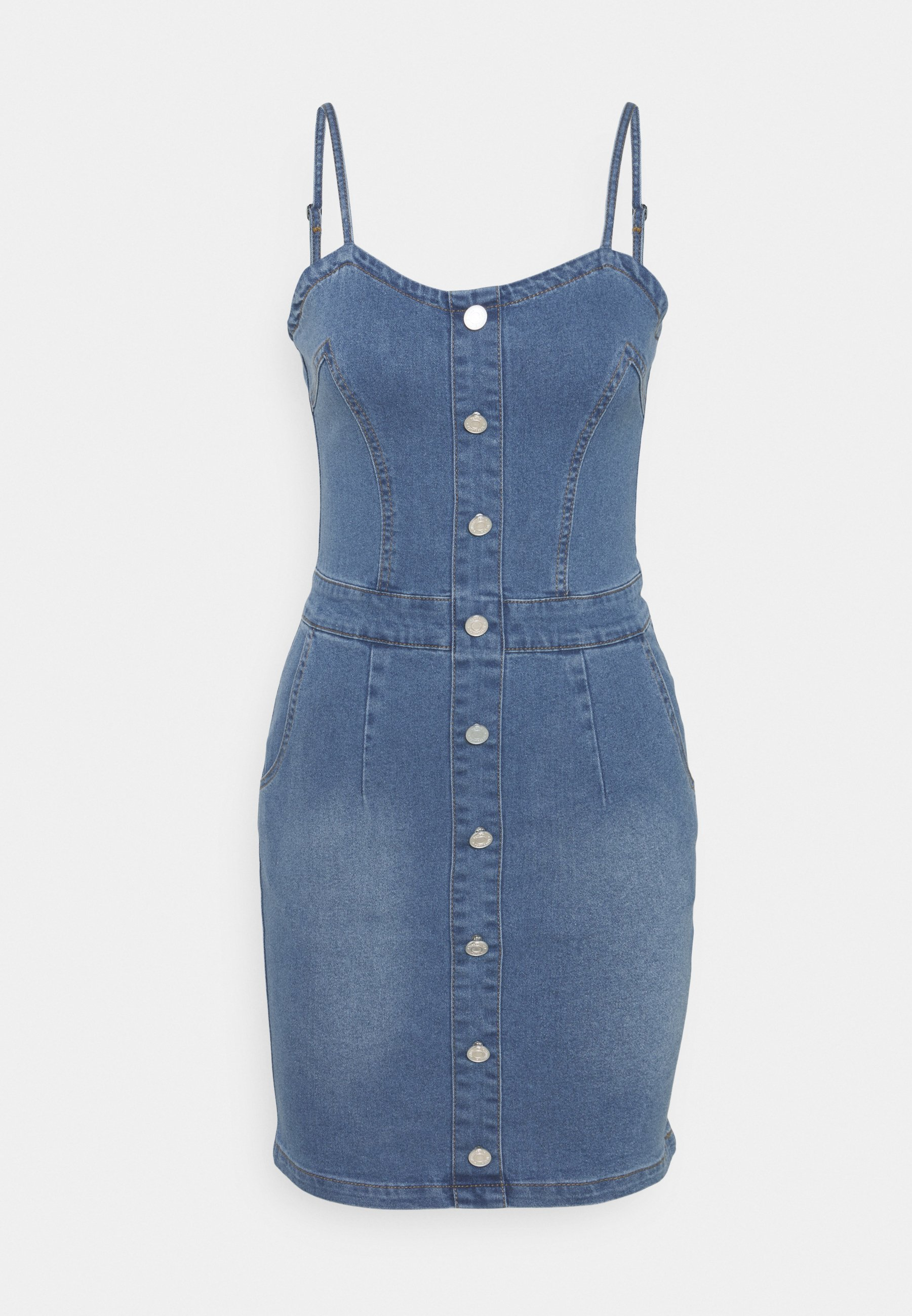 Women BUTTON DETAIL STRETCH MINI DRESS - Denim dress