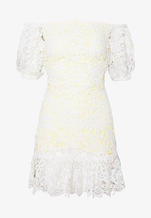 LACE BARDOT MINI DRESS - Cocktail dress / Party dress - lemon