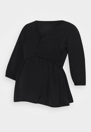 BUTTON PEPLUM - Blusa - black