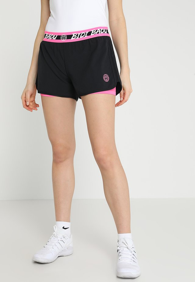 RAVEN TECH  SHORTS 2-IN-1 - Urheilushortsit - black/pink