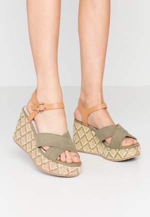 High heeled sandals - sandys natural/verde claro