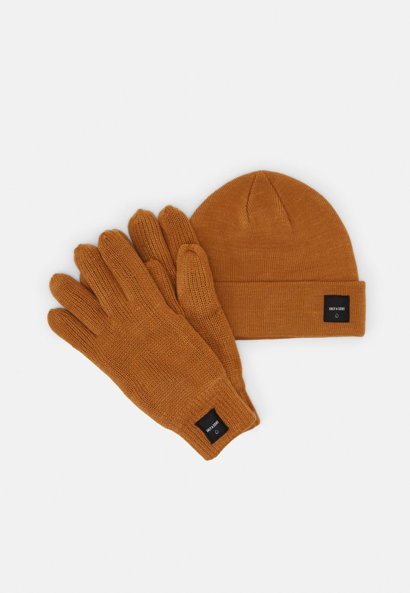 Only & Sons - ONSXBOX GLOVES BEANIE SET - Gloves - camel