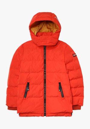 JACKET WITH PRINTED ZIPPERS AND DETACHABLE HOOD - Zimní bunda - burnt orange