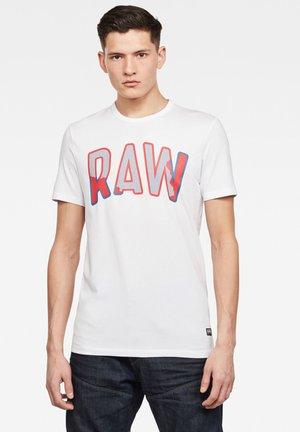 MULTI LAYER RAW GR SLIM - Print T-shirt - white