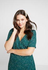 Fashion Union Plus - JUICE WRAP FRONT DRESS - Day dress - green galaxy - 3