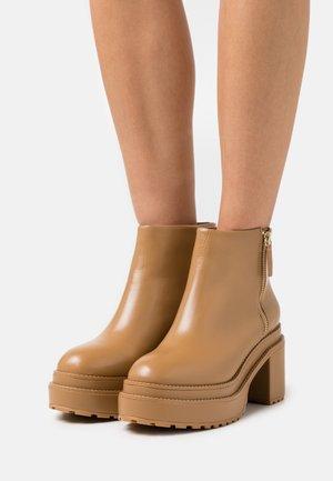 BRENDA - Platform ankle boots - camel
