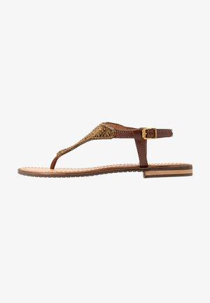 SOZY PLUS - T-bar sandals - cognac