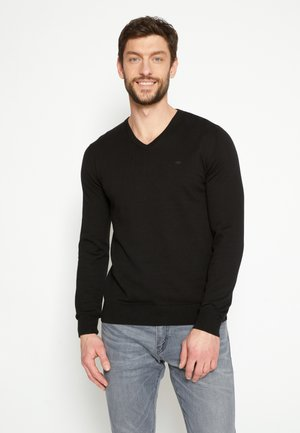 BASIC VNECK - Strickpullover - black
