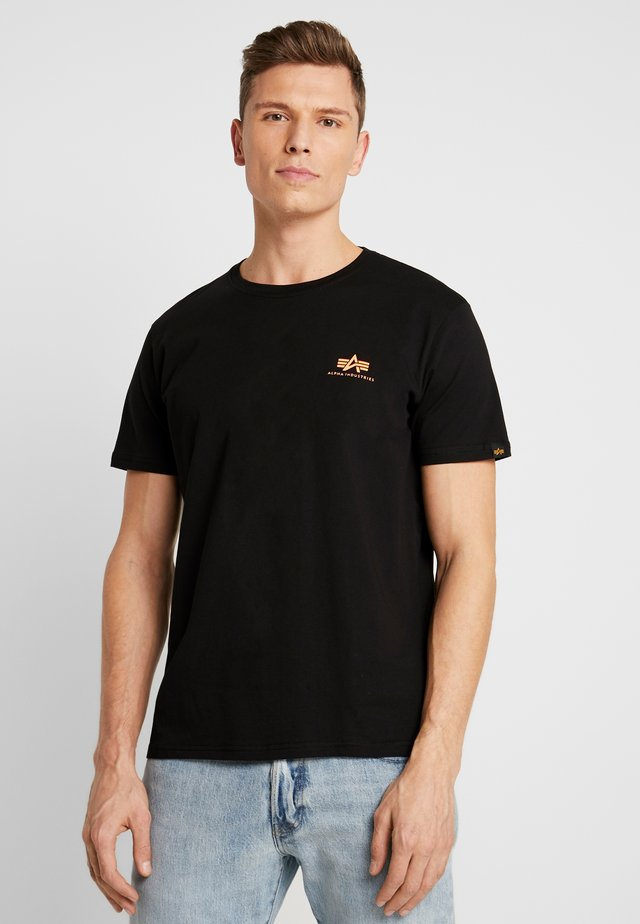 Print T-shirt - black / neon orange
