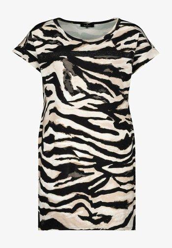 MIT ALLOVER PRINT IM ZEBRA LOOK - Print T-shirt - black